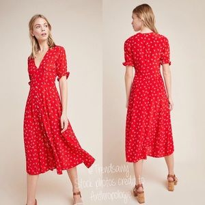 NWT ANTHROPOLOGIE Faithfull Jeanne Midi Dress Sz L
